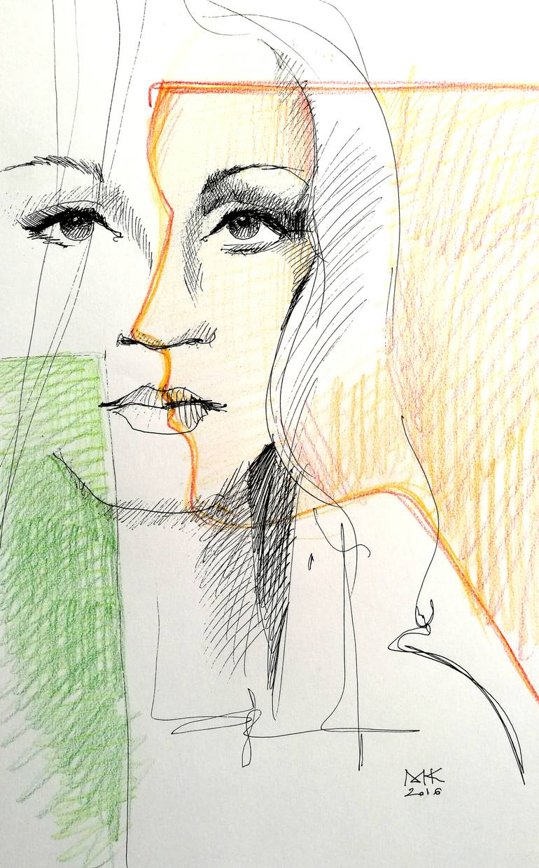 770x1239 Saatchi Art Face And Profile Drawing By Mugur Kreiss