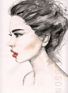 236x321 Female Face Side Profile Drawing