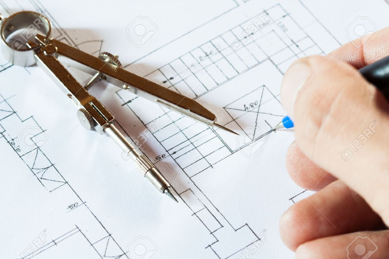 1300x866 Architect Drawing A Construction Project Stock Photo, Picture