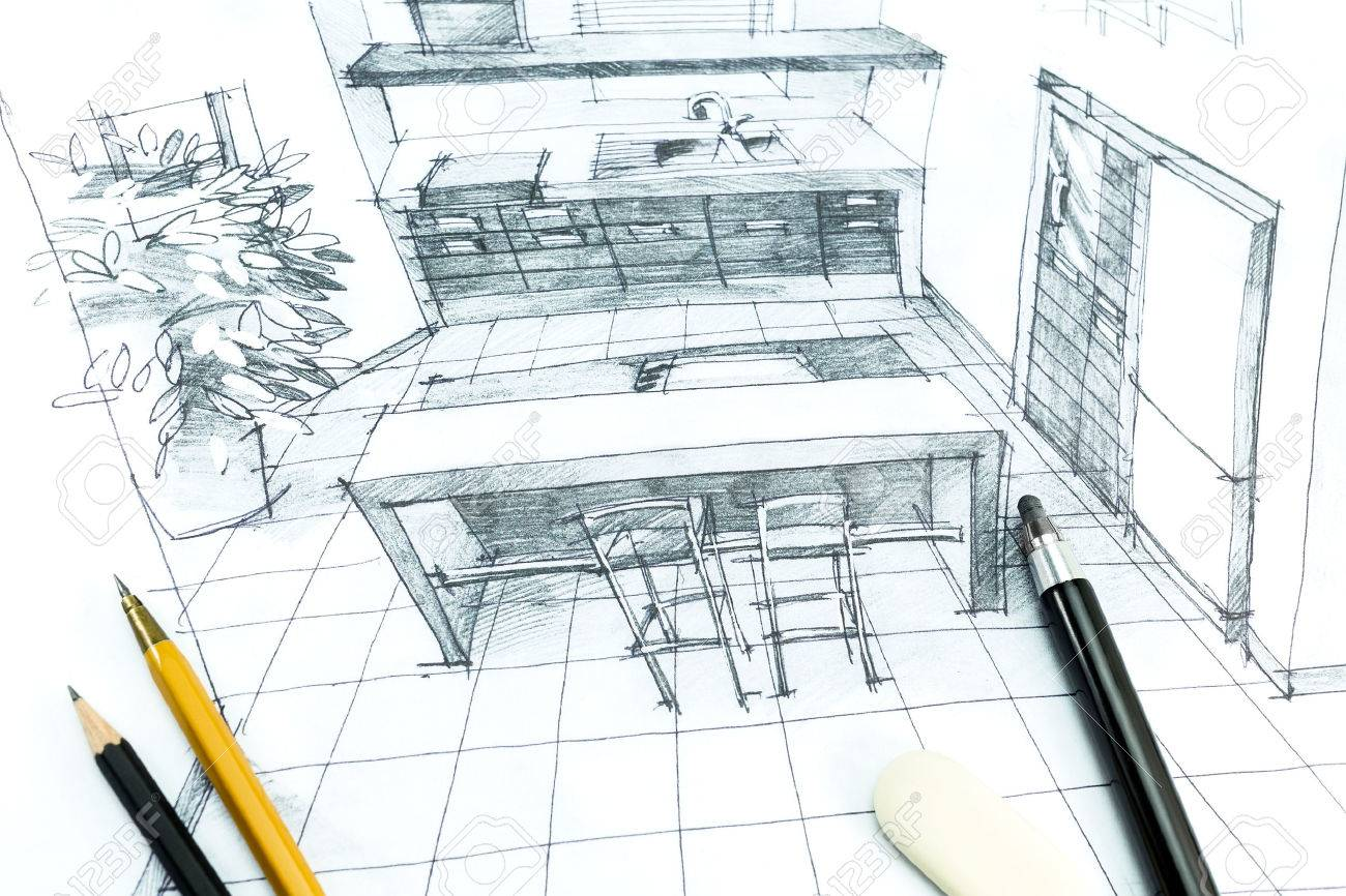 1300x866 Hand Drawing Interior Design. Part Of Architectural Project. Stock