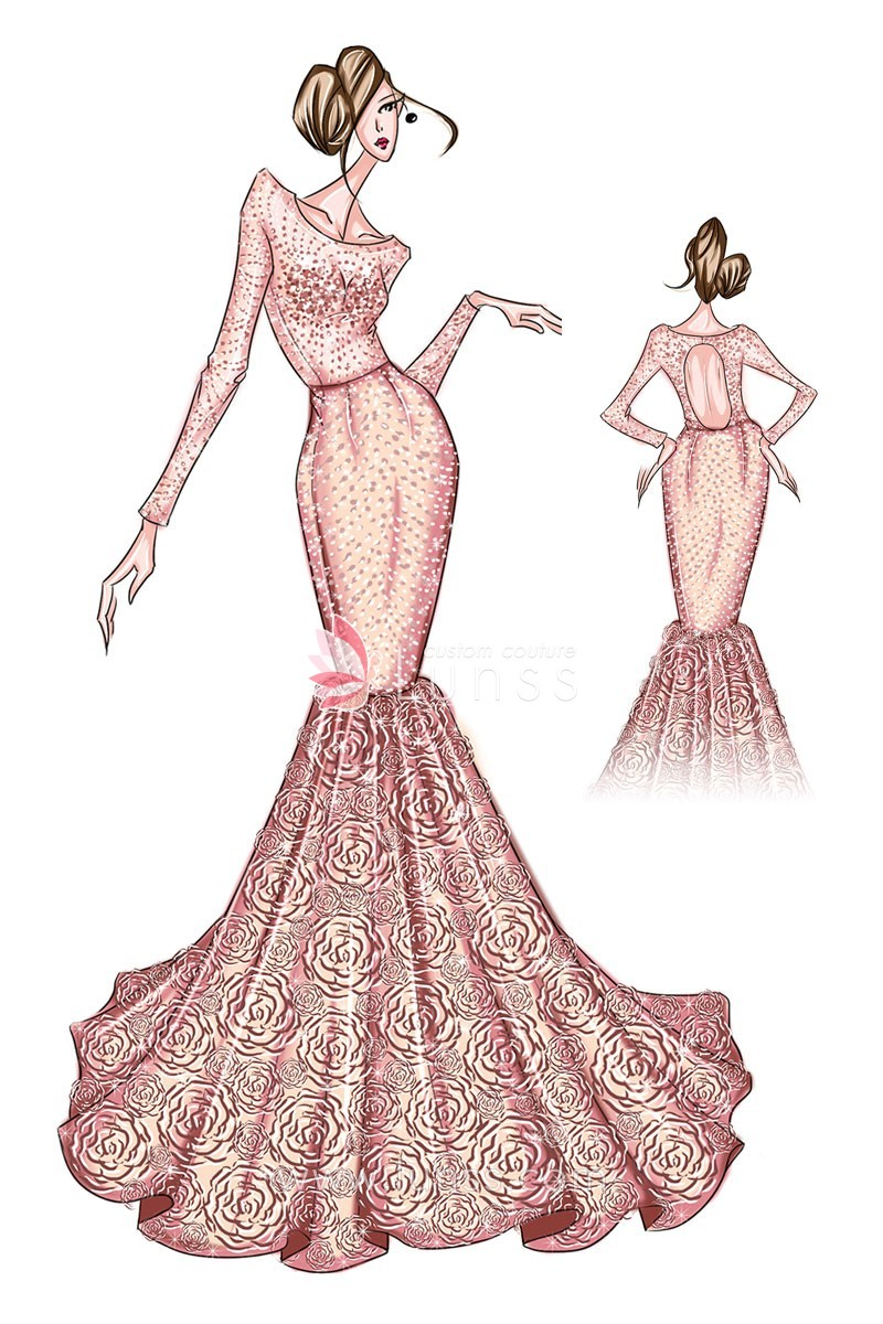 800x1200 Rosette Prom Dress Sketch, Sketch Of Mermaid Shimmering Red Prom