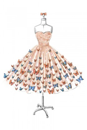 280x420 Sketch Of Strapless Sweetheart Butterfly Embellishments Champagne