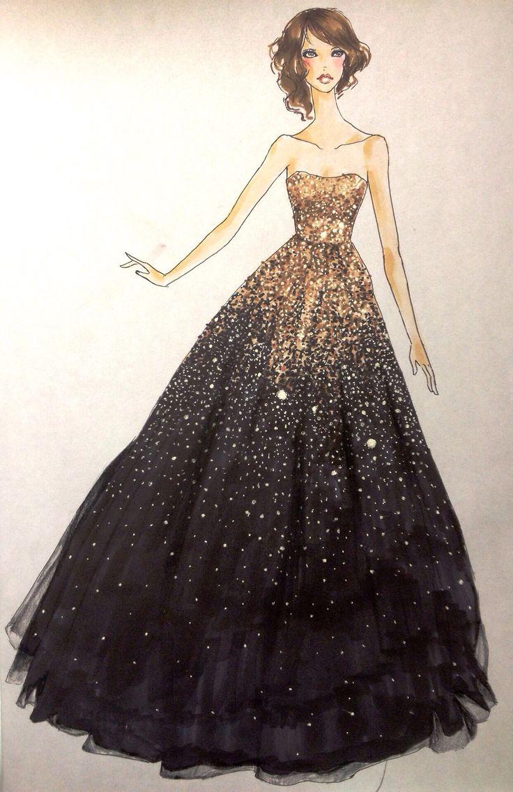 736x1135 Fashion Sketches Prom Dresses