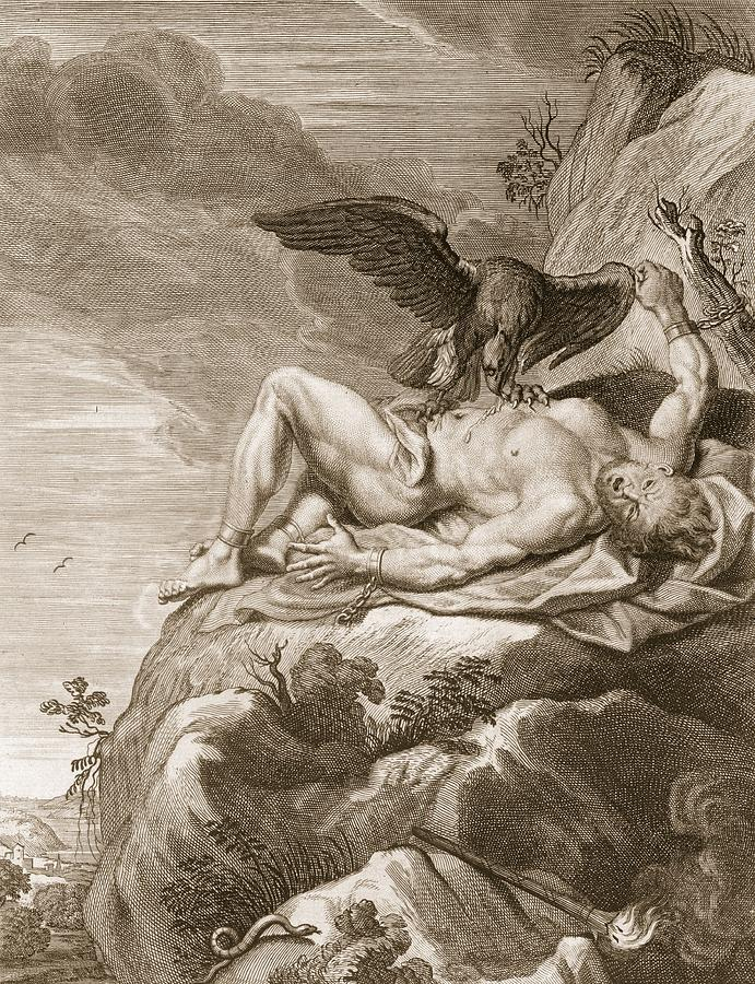 691x900 Prometheus Tortured By A Vulture, 1731 Drawing By Bernard Picart