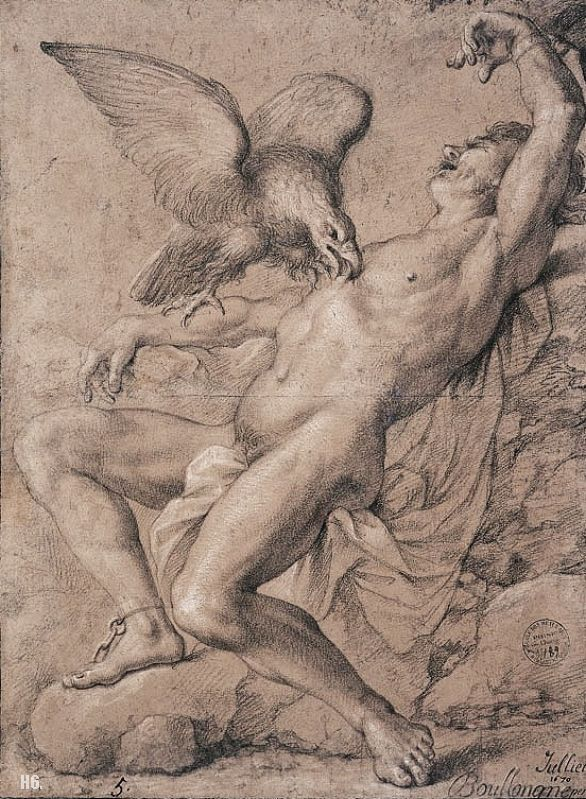 586x799 Prometheus Bound. 1670. Drawing. Louis Boullonge Young. Fantasy