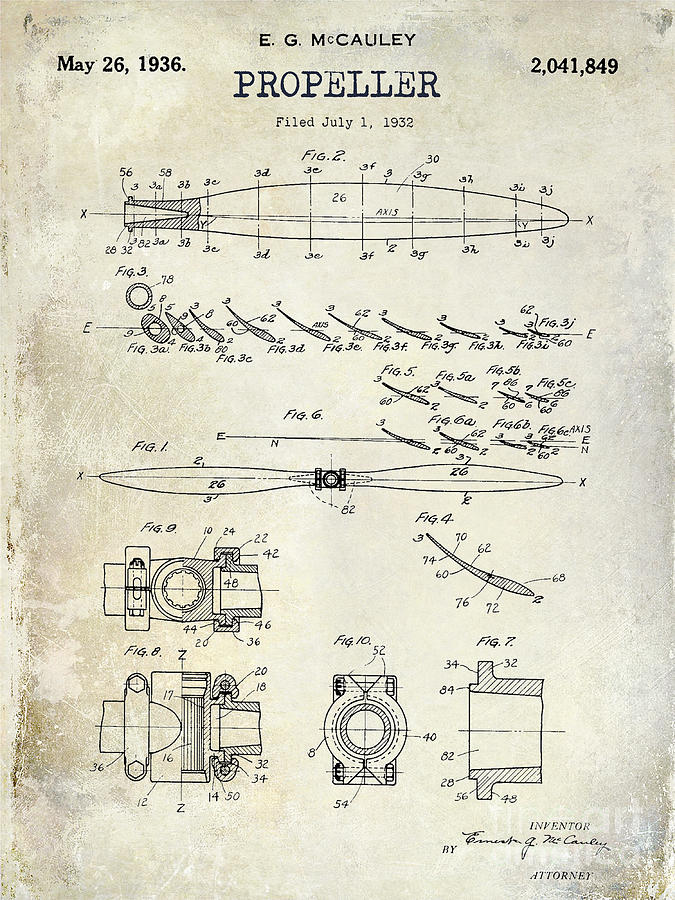 675x900 1936 Propeller Patent Drawing Photograph By Jon Neidert