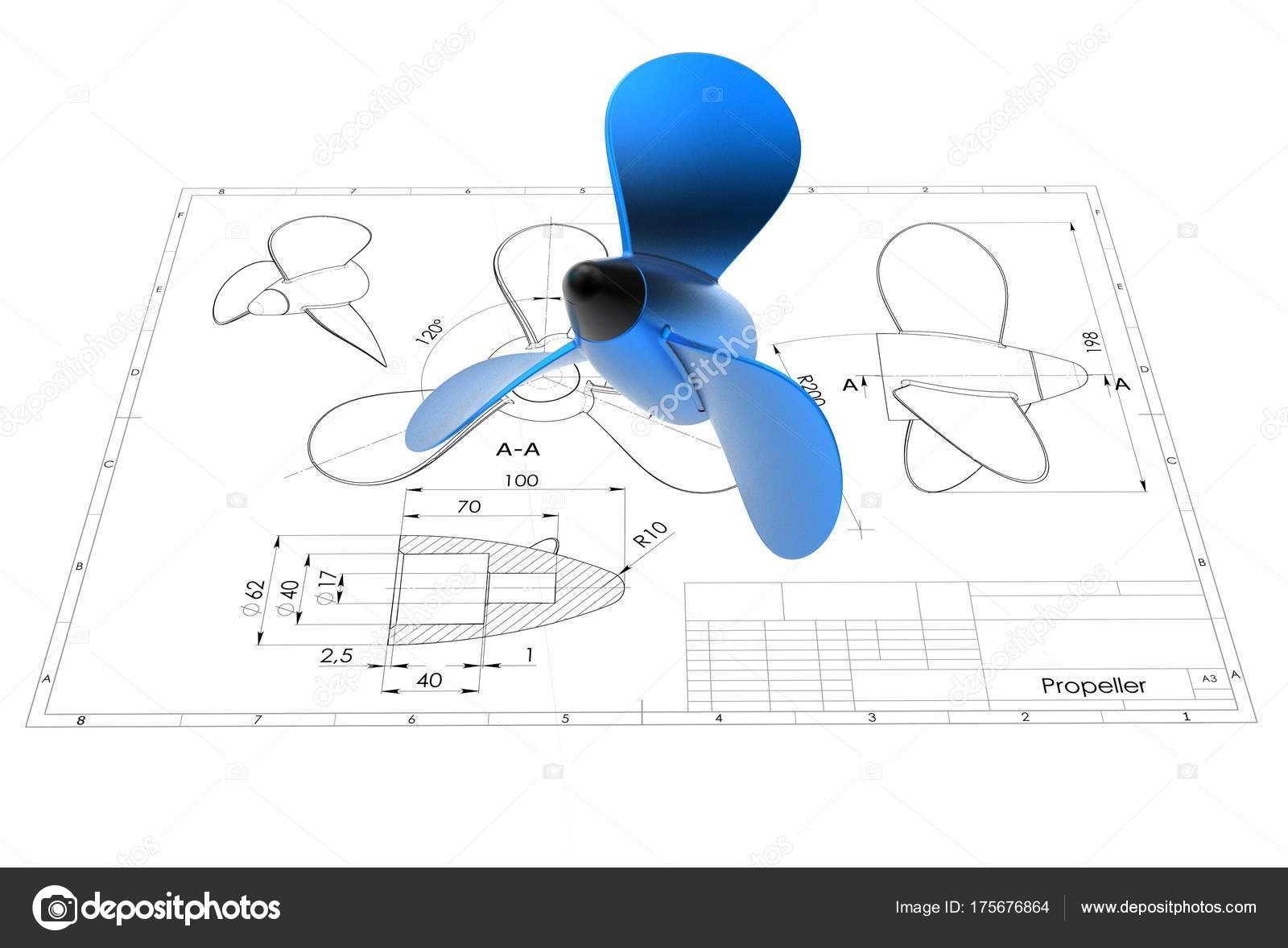 1600x1178 Illustration Propeller Engineering Drawing Stock Photo Ildarss