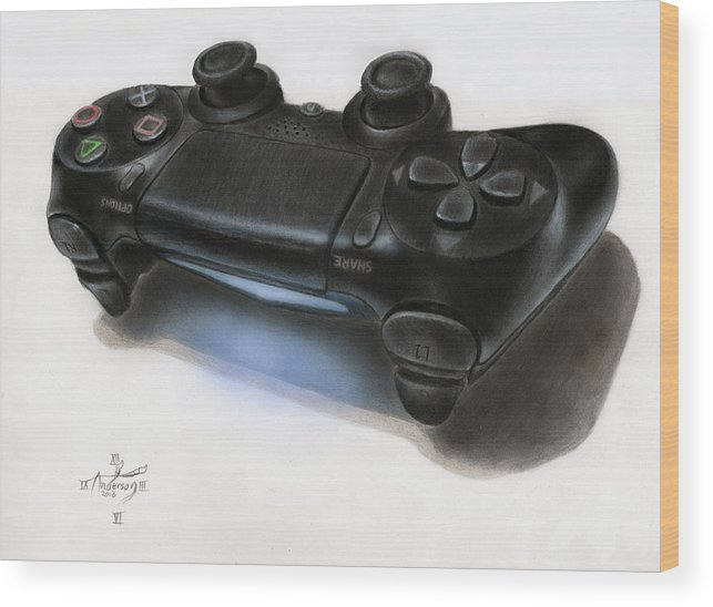 643x548 3d Ps4 Controller Drawing Wood Print By Jonathan Anderson