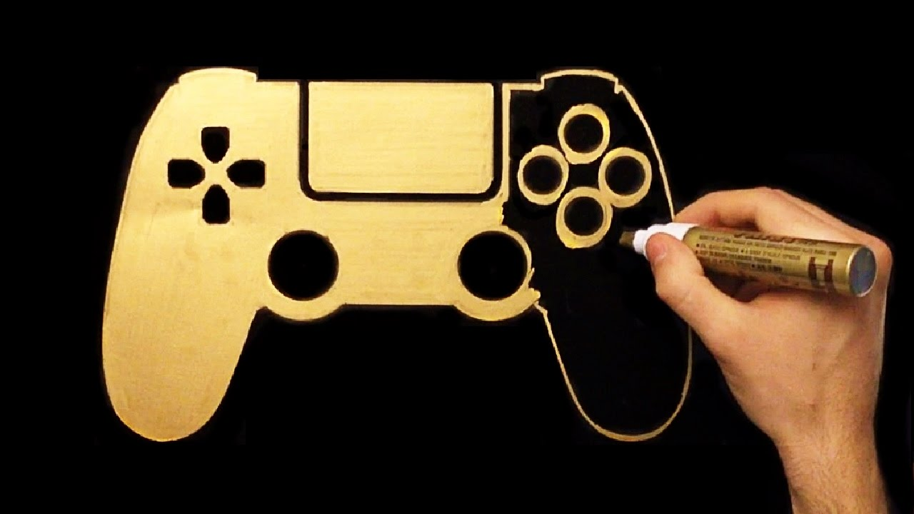 1280x720 How To Draw Gold Ps4 Joystick Speed Drawing Draw With Denis