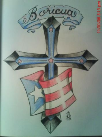 354x472 Boricua Drawing Of The Puerto Rican Flag, Bannernd