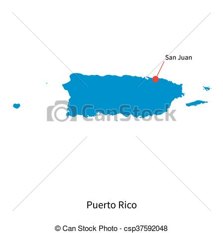 450x470 Detailed Vector Map Of Puerto Rico And Capital City San Juan Eps