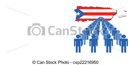 450x226 Lines Of People With Puerto Rico Map Flag Vector Clipart Vector