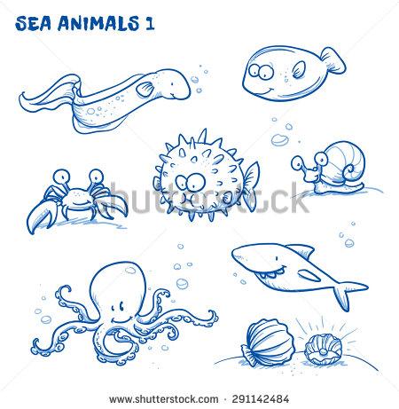 450x461 Cute Cartoon Sea Water Animals. Eel, Crab, Puffer Fish, Octopus
