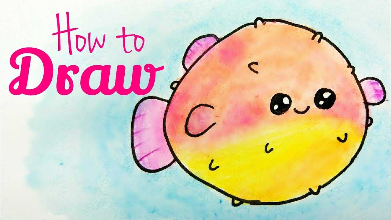 1280x720 How To Draw Puffer Fish Drawing Cute Puffer Fish Tutorial Easy