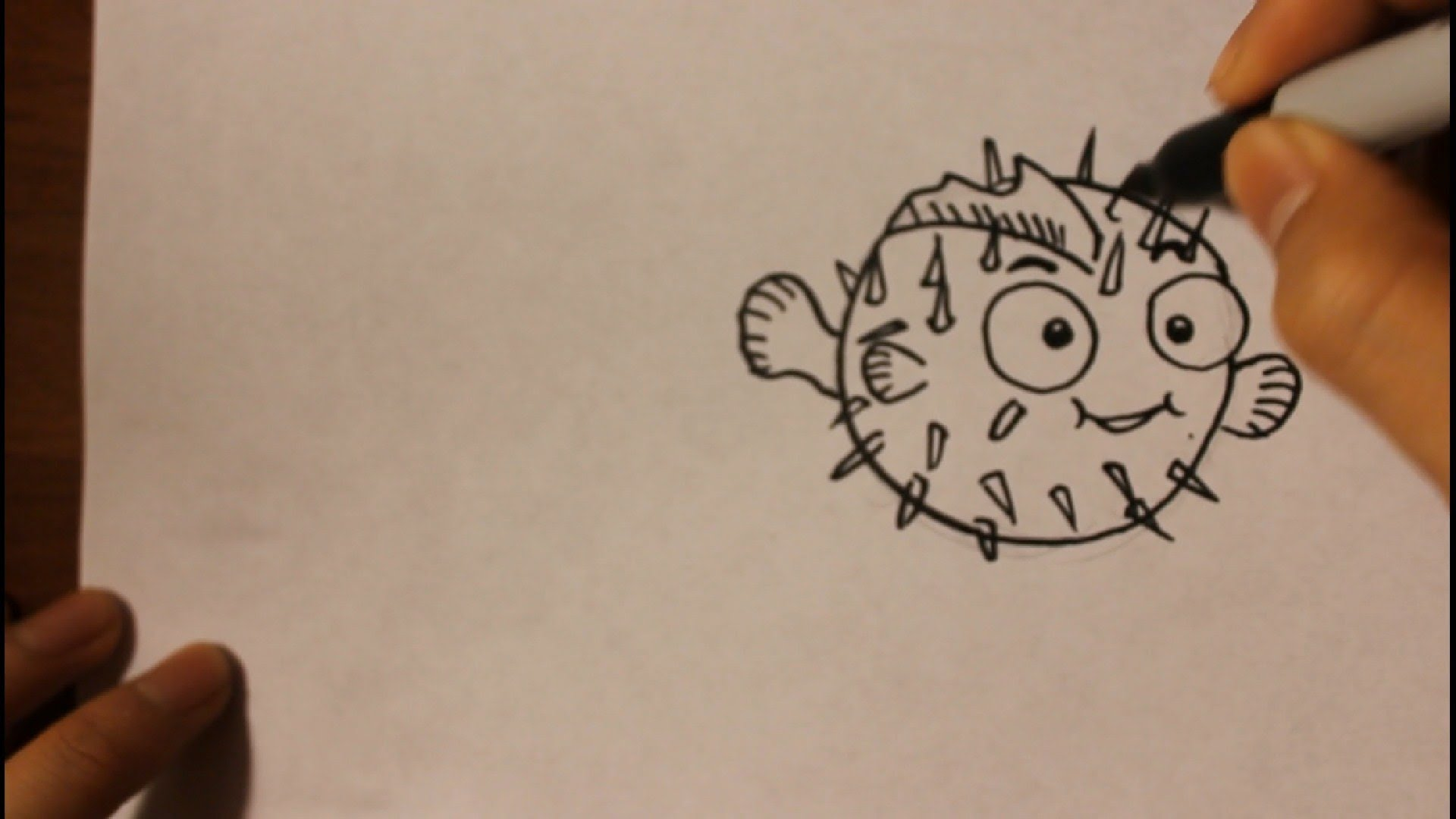 1920x1080 How To Draw Cartoon Puffer Fish Easy Step By Step Drawing
