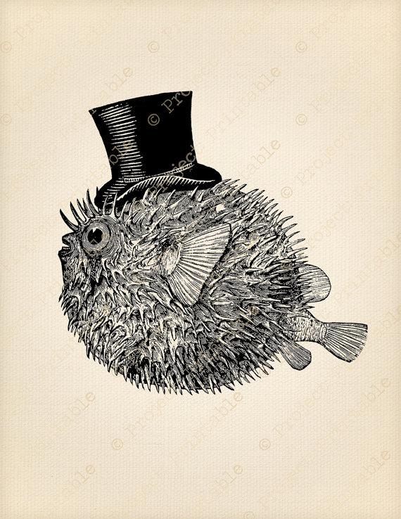 570x738 Printable Clipart Puffer Fish Top Hat Sea Bathroom Print