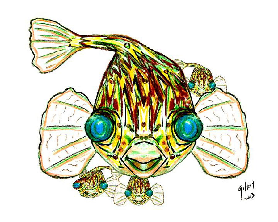 900x720 Puffer Fish Painting By W Gilroy