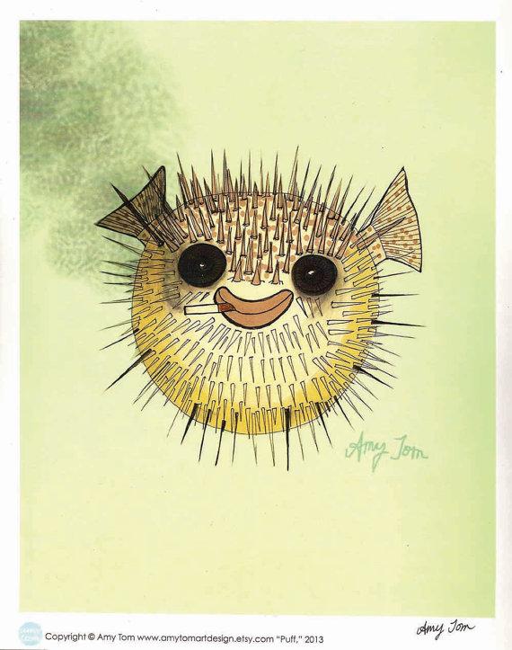 570x723 Smiling Pufferfish Art Print Of Original Drawing