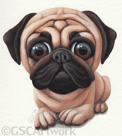 476x529 Pug Dog Puppy Pet Animal Cartoon Caricature Acrylic Painting Art