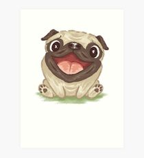 210x230 Happy Pug Drawing Art Prints Redbubble