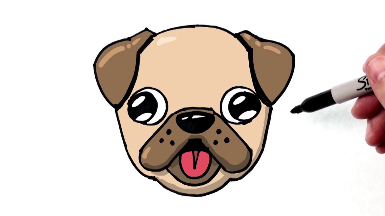 1280x720 How To Draw A Cute Dog Emoji Pug For Beginners Step By Step