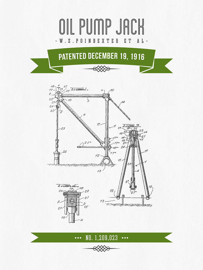 675x900 1916 Oil Pump Jack Patent Drawing