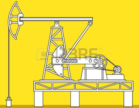 450x350 Industrial Illustration With The Oil Pumpjack Derricks Royalty