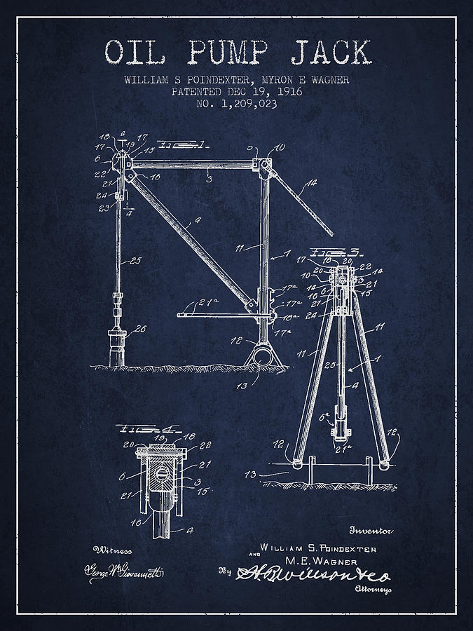 675x900 Oil Pump Jack Patent Drawing From 1916