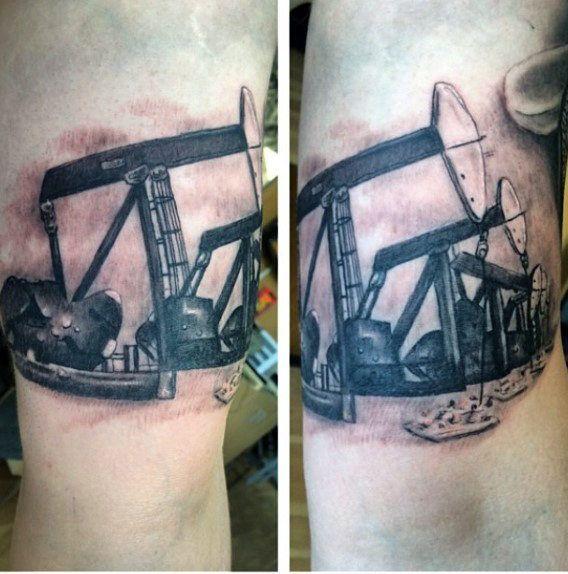 568x574 Realistic Oilfield Pumpjack Mens Arm Tattoo Tattoo Ideas