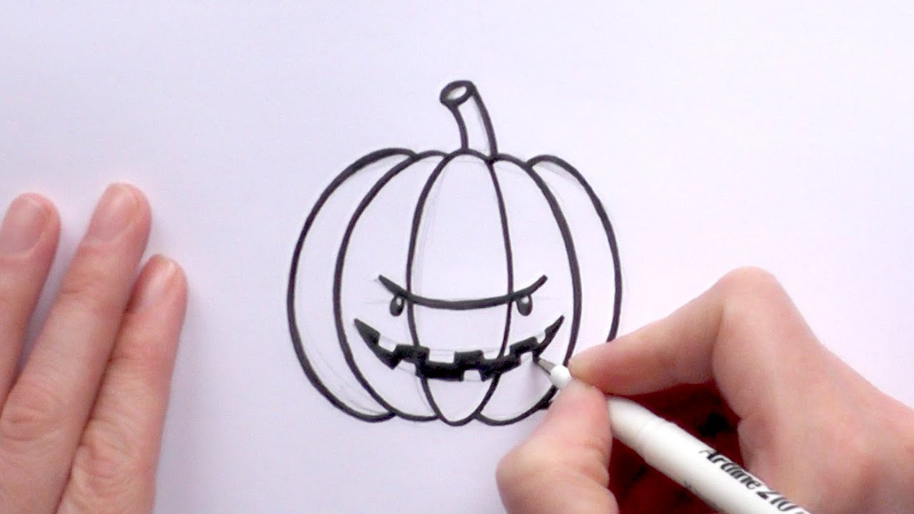 1280x720 How To Draw A Cartoon Scary Pumpkin For Halloween