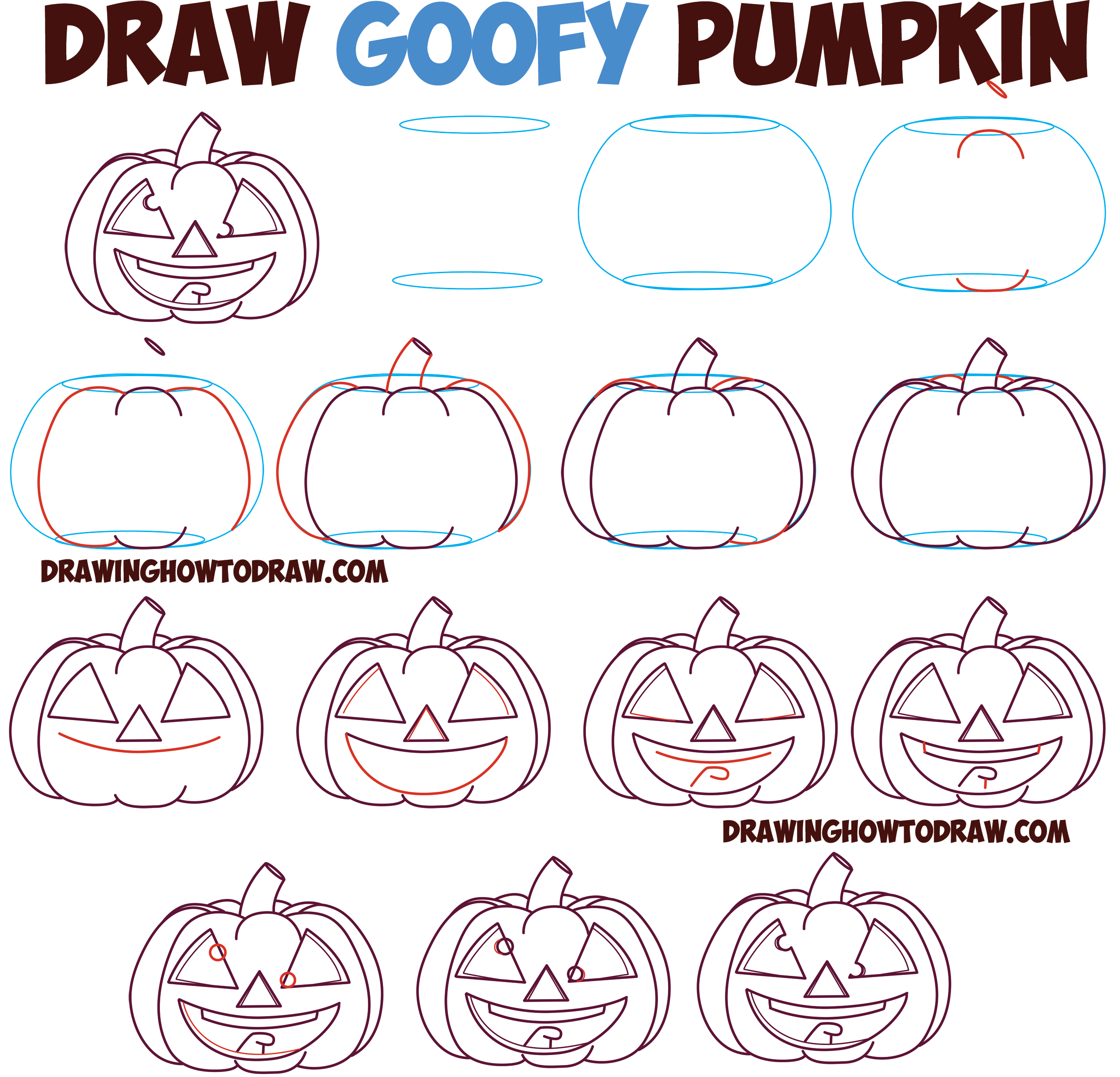2500x2405 Huge Guide To Drawing Cartoon Pumpkin Faces Jack O'Lantern Faces