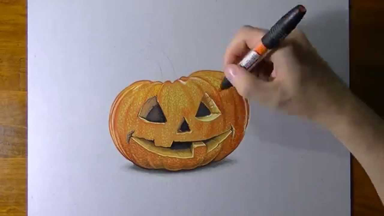 1280x720 Drawing A Carved Pumpkin For Halloween