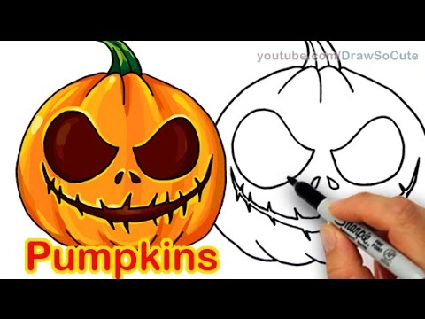 480x360 How To Draw Scary Carved Pumpkins Cute And Easy Halloween