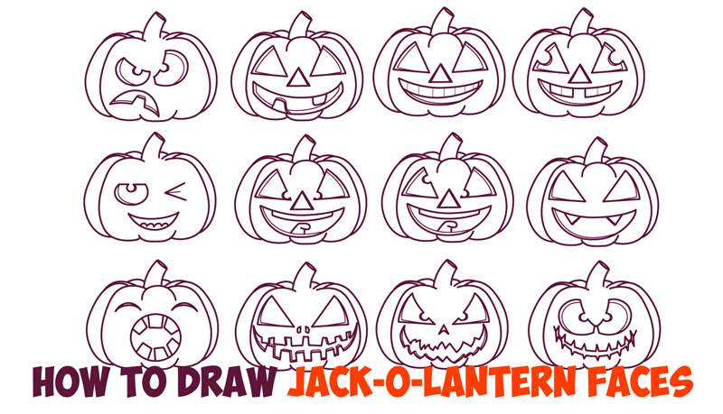 800x459 Huge Guide To Drawing Cartoon Pumpkin Faces Jack O'Lantern Faces