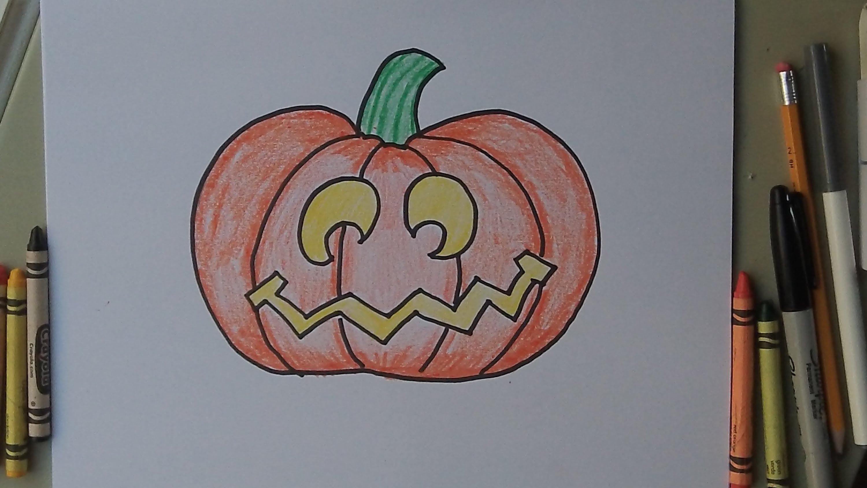 3000x1688 How To Draw A Halloween Jack O Lantern Pumpkin. Step By Step