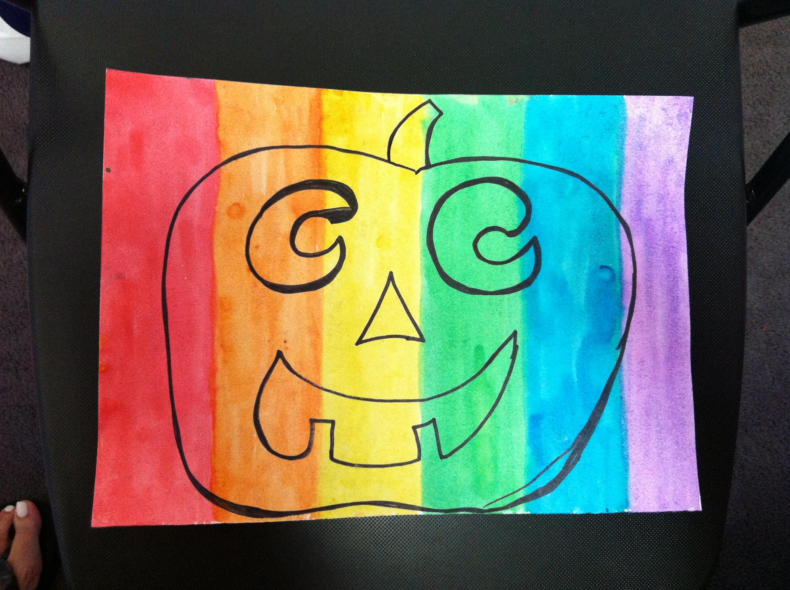2592x1936 Rainbow Jack O Lanter Step 2 Trace A Pumpkin Face Kids Art