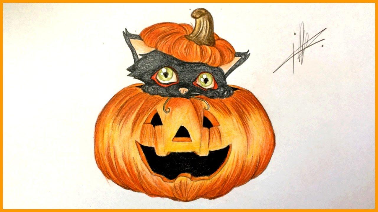 1280x720 Drawing A Halloween Pumpkin With A Black Cat