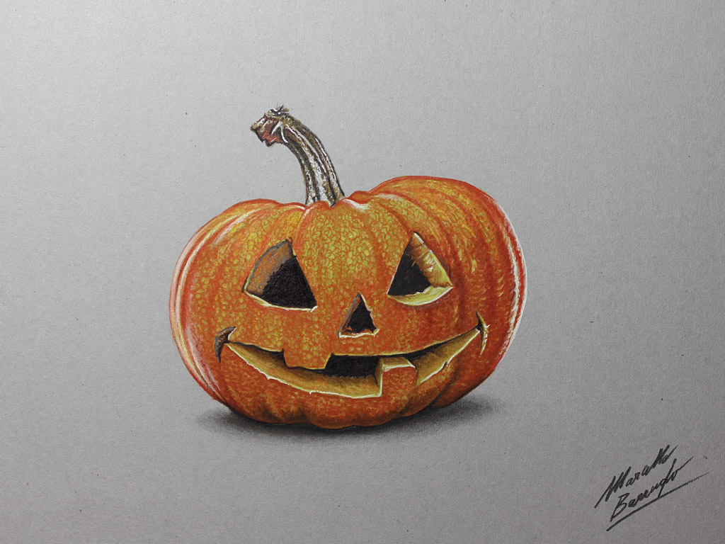 1024x768 Halloween Carved Pumpkin Drawing By Marcellobarenghi