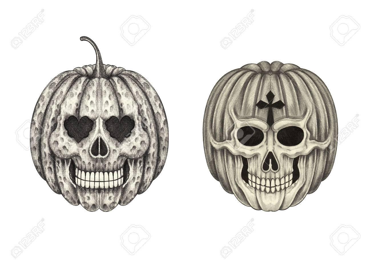1300x933 Art Pumpkin Skulls.hand Pencil Drawing On Paper. Stock Photo