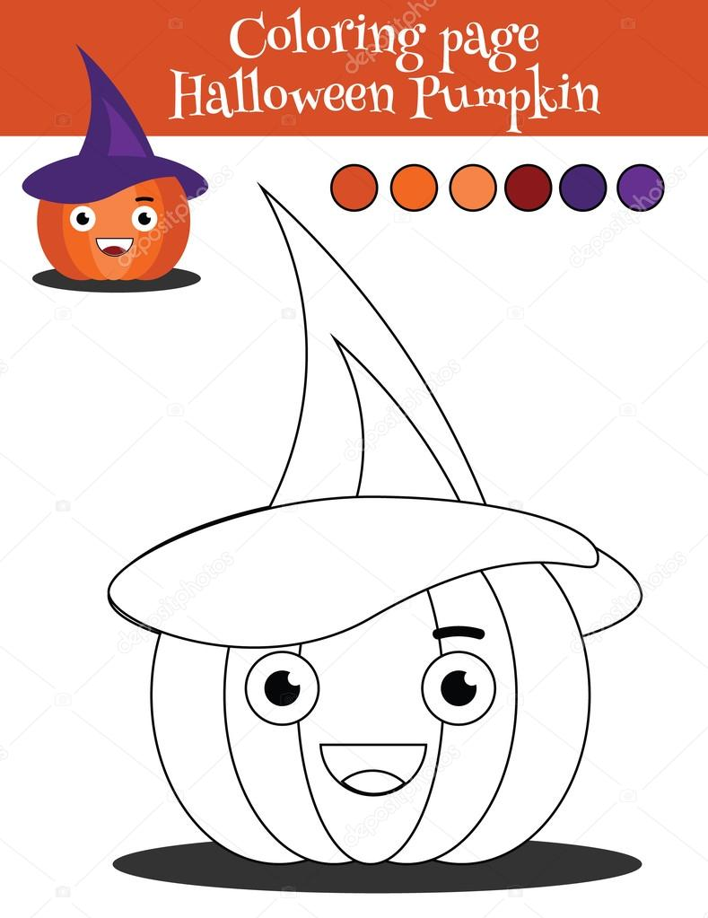 789x1023 Coloring Page With Halloween Pumpkin. Educational Game, Drawing