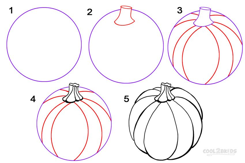 850x567 How To Draw A Pumpkin Step By Step Paintings
