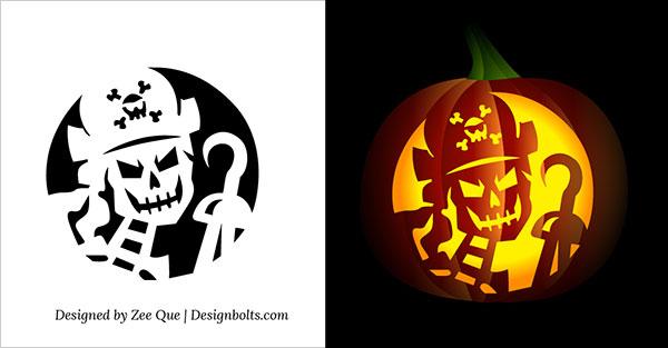 600x313 Free Printable Skeleton Scary Halloween Pumpkin Carving Stencils