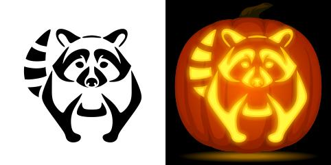 482x241 Raccoon Pumpkin Carving Stencil. Free Pdf Pattern To Download