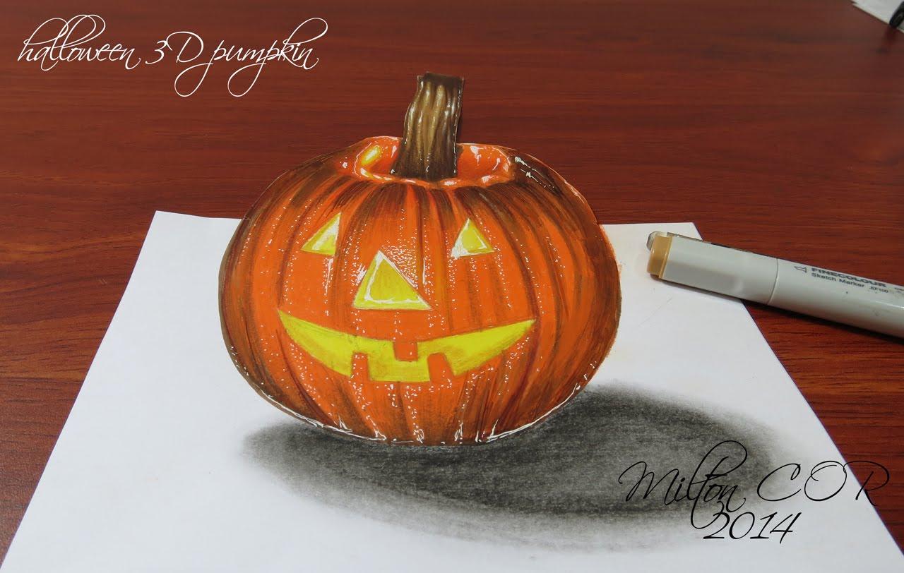 1280x812 How To Draw A 3d Halloween Pumpkin