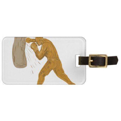 422x422 Boxer Punching Bag Drawing Luggage Tag Punching Bag, Draw And Bag