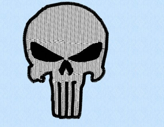 570x441 The Punisher Skull Machine Embroidery Design In Two By Lynellen