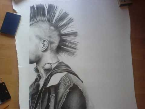 480x360 Huge Pencil Drawing Of A Punk