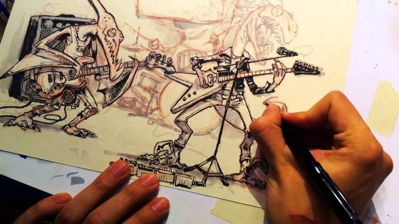 1280x720 Drawing Jurassic Punk Rock Band