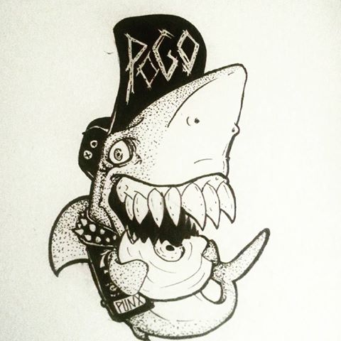 480x480 Punk Rock Shark Punk Rock Cartoons Punk Rock