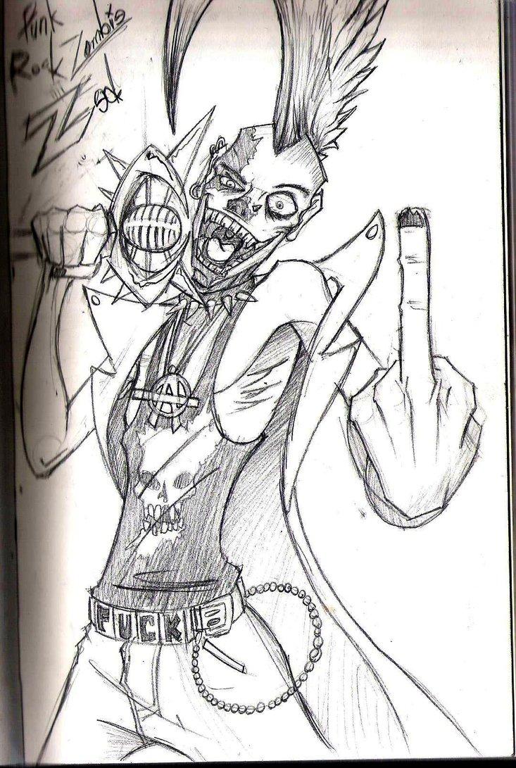 733x1091 Punk Rock Zombie Zed By Protypem3x